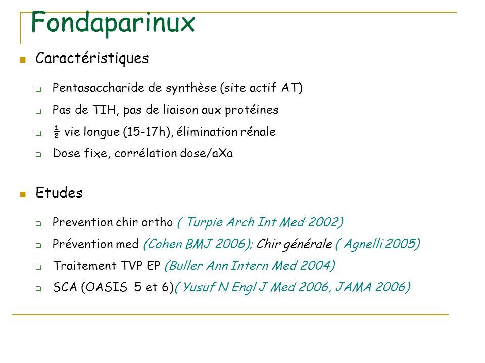 Fondaparinux Caractéristiques Pentasaccharide de synthèse (site actif AT) Pas de TIH, pas de liaison aux protéines ½ vie longue (15-17h), élimination