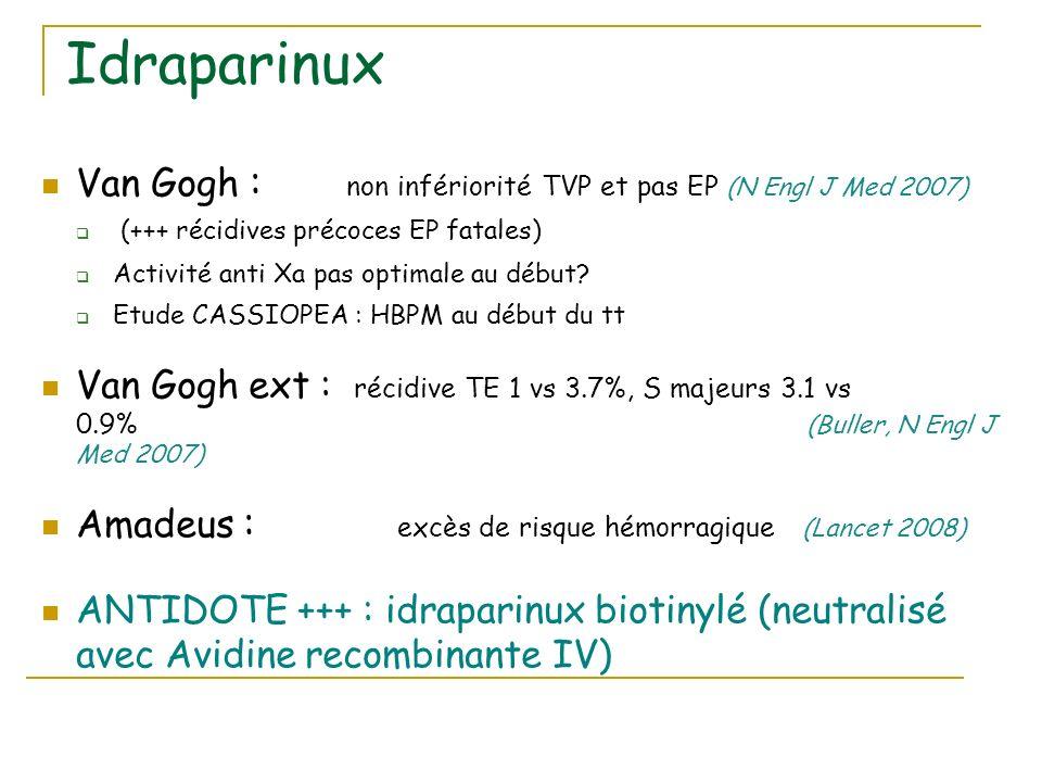 Idraparinux Van Gogh : non infériorité TVP et pas EP (N Engl J Med 2007) (+++ récidives précoces EP fatales) Activité anti Xa pas optimale au début? E