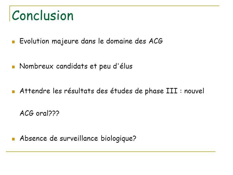 Conclusion Evolution majeure dans le domaine des ACG Nombreux candidats et peu d'élus Attendre les résultats des études de phase III : nouvel ACG oral