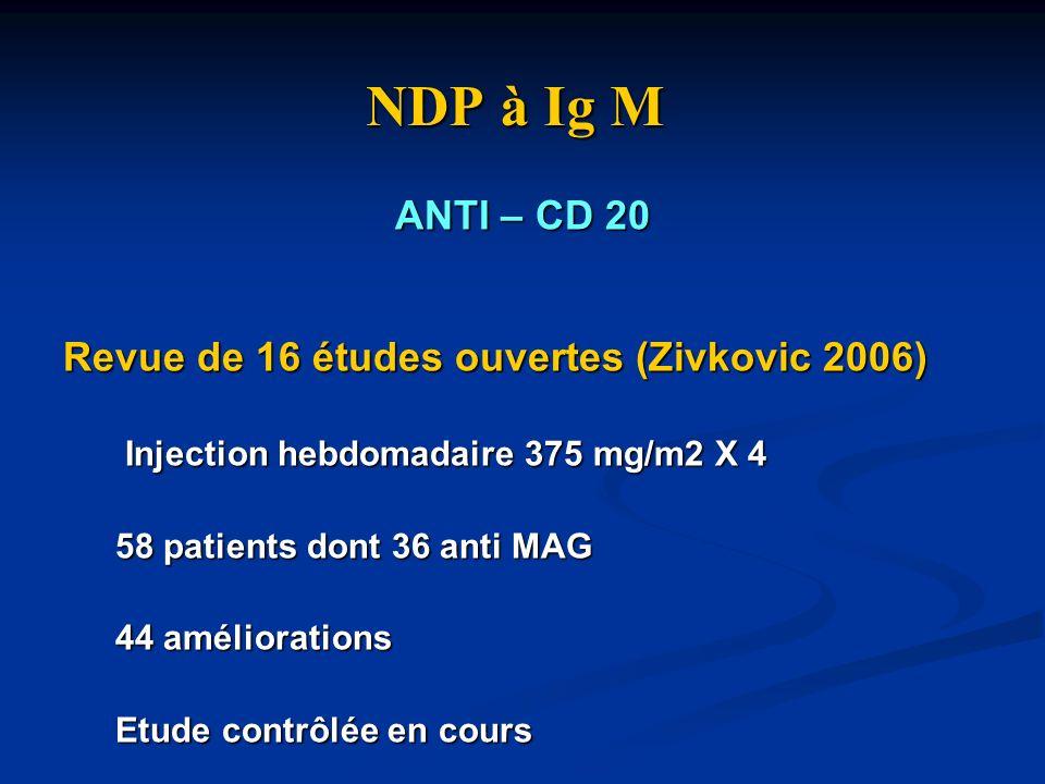 NDP à Ig M ANTI – CD 20 Revue de 16 études ouvertes (Zivkovic 2006) Injection hebdomadaire 375 mg/m2 X 4 Injection hebdomadaire 375 mg/m2 X 4 58 patie