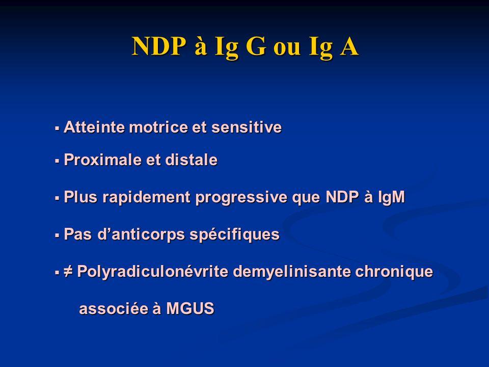 NDP à Ig G ou Ig A Atteinte motrice et sensitive Atteinte motrice et sensitive Proximale et distale Proximale et distale Plus rapidement progressive q
