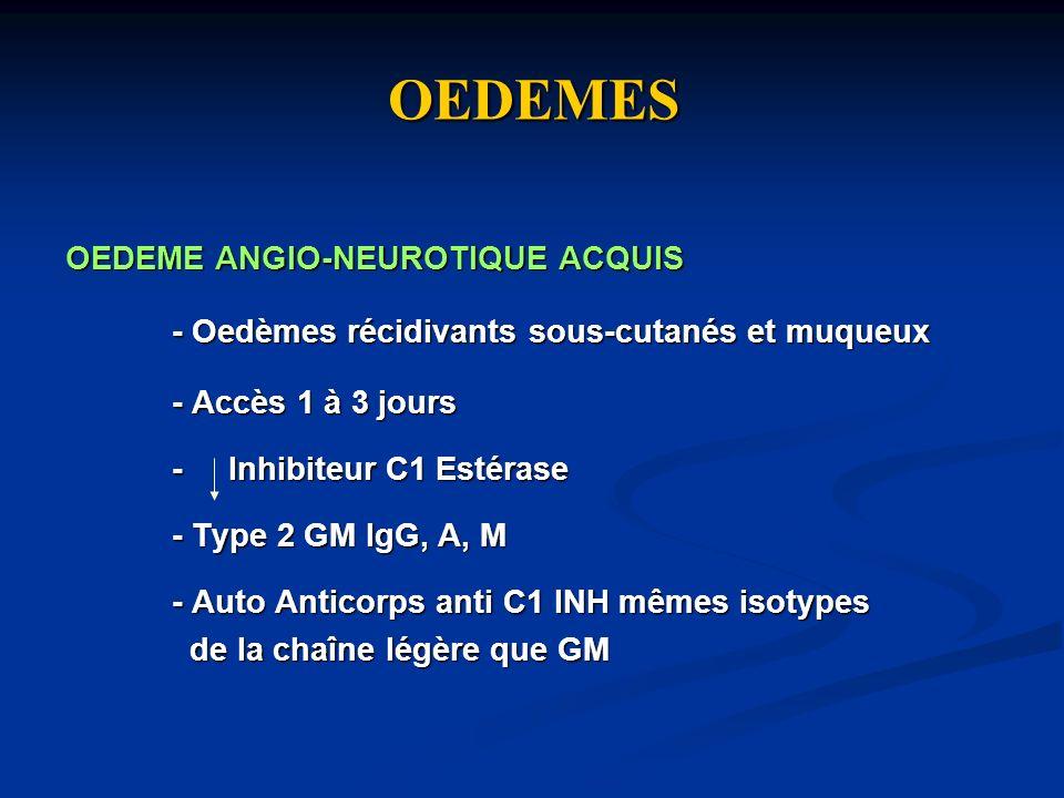 OEDEMES OEDEME ANGIO-NEUROTIQUE ACQUIS - Oedèmes récidivants sous-cutanés et muqueux - Accès 1 à 3 jours - Inhibiteur C1 Estérase - Type 2 GM IgG, A,
