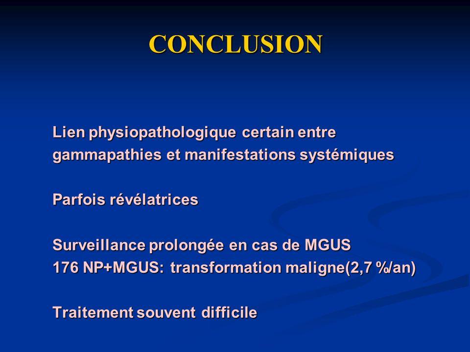 CONCLUSION Lien physiopathologique certain entre gammapathies et manifestations systémiques Parfois révélatrices Surveillance prolongée en cas de MGUS