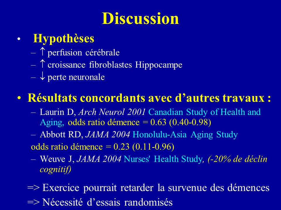 Discussion Hypothèses – perfusion cérébrale – croissance fibroblastes Hippocampe – perte neuronale Résultats concordants avec dautres travaux : –Lauri