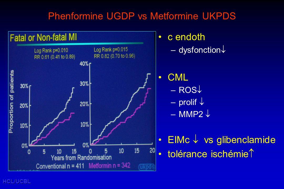 HCL/UCBL Phenformine UGDP vs Metformine UKPDS c endoth –dysfonction CML –ROS –prolif –MMP2 EIMc vs glibenclamide tolérance ischémie