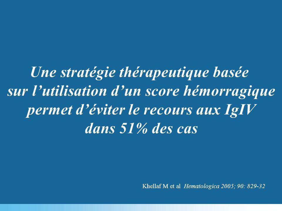 Une stratégie thérapeutique basée sur lutilisation dun score hémorragique permet déviter le recours aux IgIV dans 51% des cas Khellaf M et al Hematolo