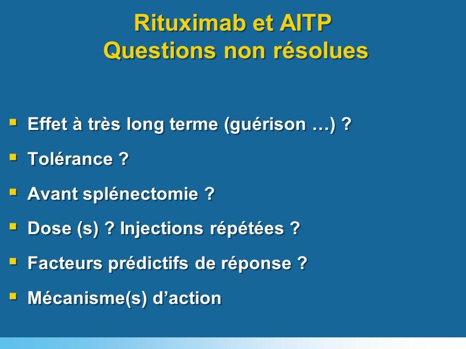 Rituximab et AITP Questions non résolues Effet à très long terme (guérison …) ? Tolérance ? Avant splénectomie ? Dose (s) ? Injections répétées ? Fact