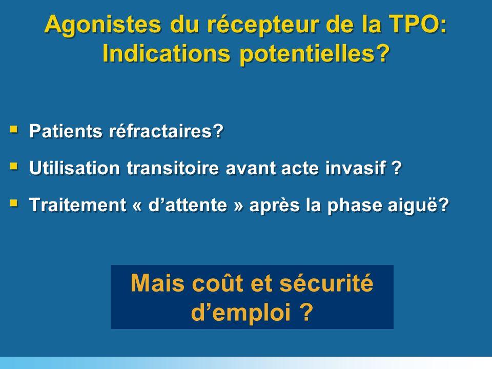 Mais coût et sécurité demploi ? Agonistes du récepteur de la TPO: Indications potentielles? Patients réfractaires? Utilisation transitoire avant acte