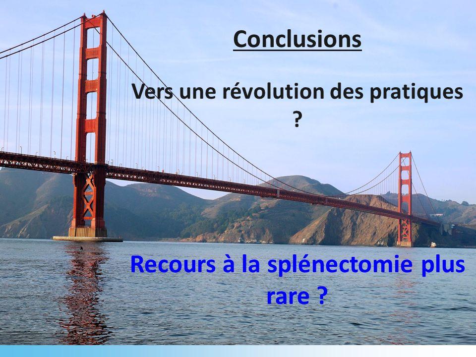Conclusions Vers une révolution des pratiques ? Recours à la splénectomie plus rare ?
