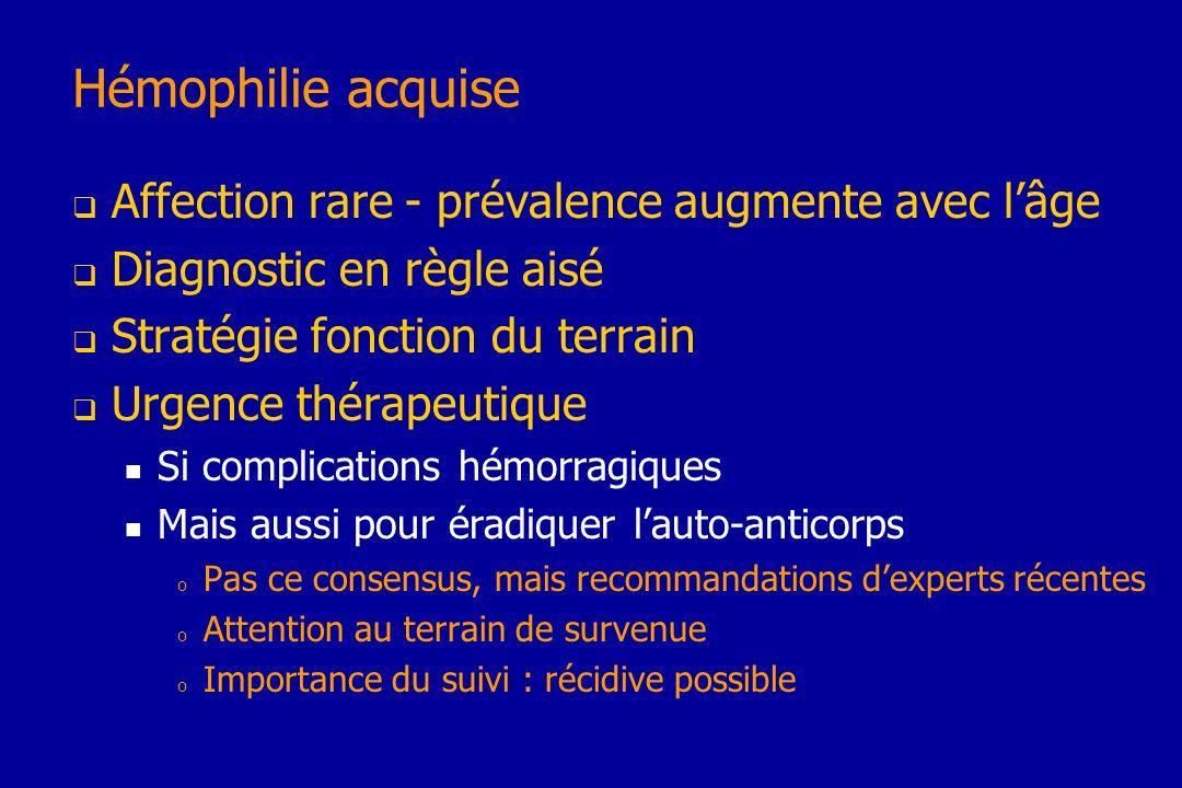 Hémophilie acquise Affection rare - prévalence augmente avec lâge Diagnostic en règle aisé Stratégie fonction du terrain Urgence thérapeutique Si comp