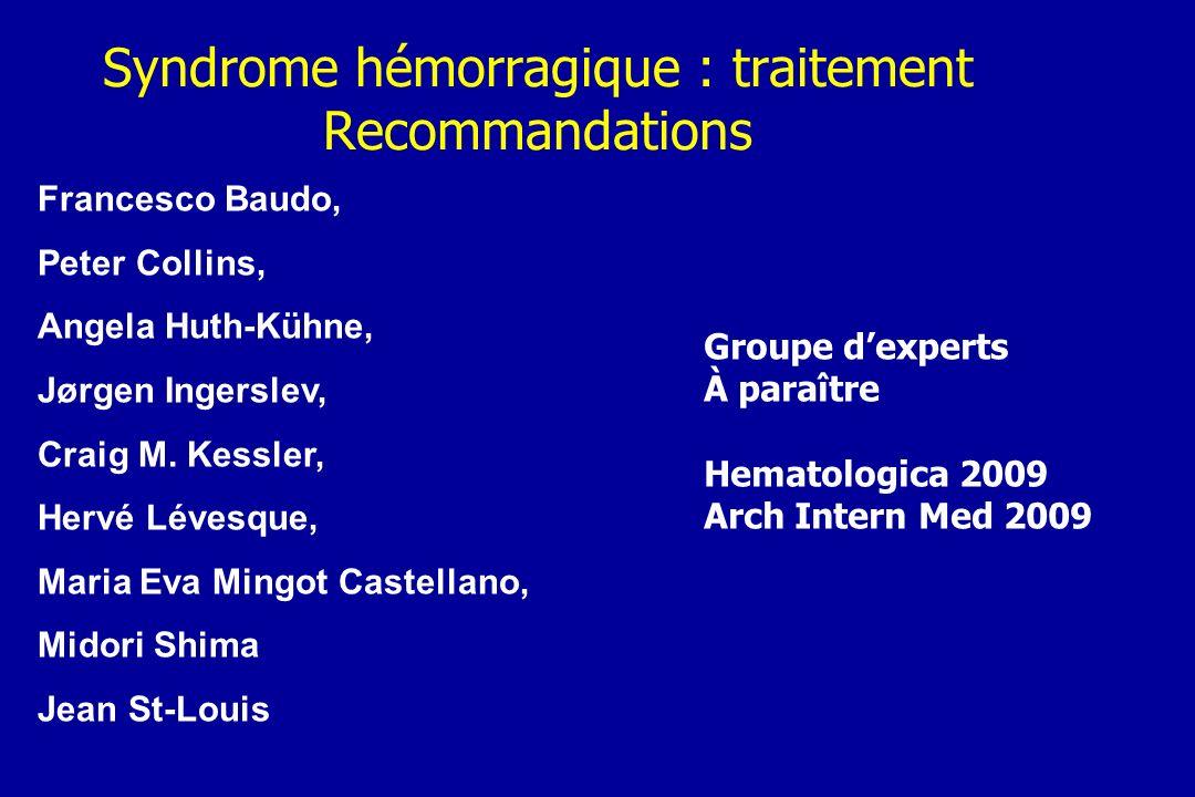 Syndrome hémorragique : traitement Recommandations Francesco Baudo, Peter Collins, Angela Huth-Kühne, Jørgen Ingerslev, Craig M. Kessler, Hervé Lévesq