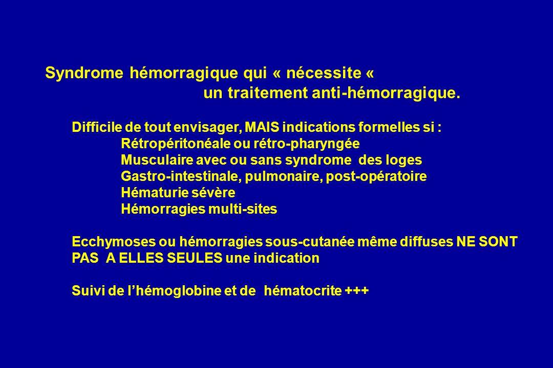 Syndrome hémorragique qui « nécessite « un traitement anti-hémorragique. Difficile de tout envisager, MAIS indications formelles si : Rétropéritonéale
