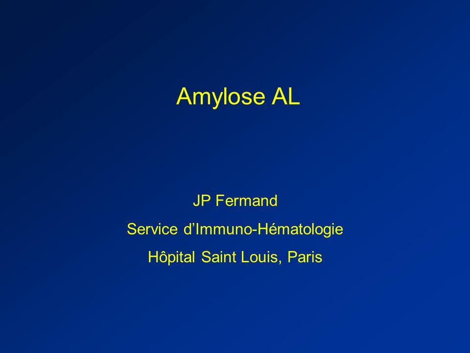 Réponses 19 (70%) 27 (69%) 14 (64%) 24 (68%) 13 (87%) 15 (75%) Total response 61551235 PR 13129 10 CR ASCT (n = 27) M-Dex (n = 39) ASCT (n = 22) M-Dex (n = 35) ASCT (n = 15) M-Dex (n = 20) Combined responseConventional responseFLC response (n = 35) Amylose AL: traitement classique / traitement intensif