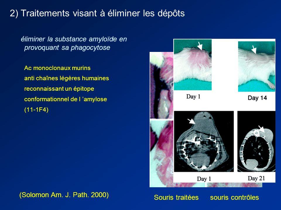 Amylose AL 2) Traitements visant à éliminer les dépôts - DMSO, colchicine - I-Dox : anthracycline interagissant avec les dépôts amyloïdes action sur l