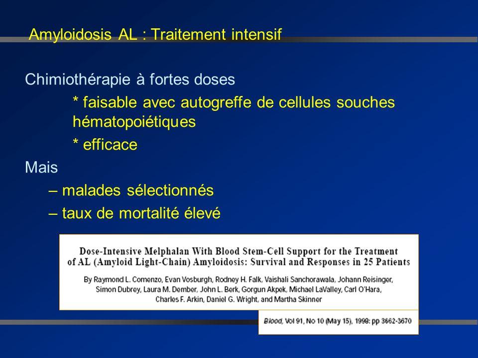 Amylose AL : chimiothérapie « classique » En dehors MP - Dexaméthasone - Polychimiothérapie alkylants (VBMCP), vincristine, adriamycine et Dexaméthaso