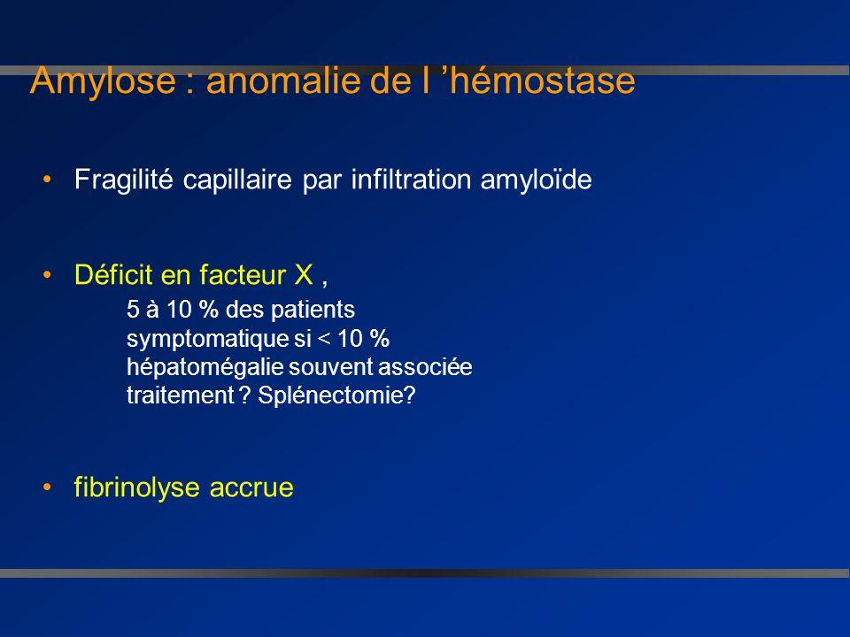 Amylose splénique Fréquente responsable d hyposplénisme corps de jolly risque d infection risque de rupture spontanée ( majorée par injection dun fact