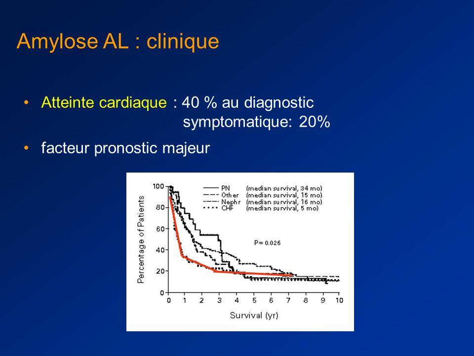 Amylose AL: diagnostic Objectiver l amylose : rouge congo Typer l amylose : –Wright : résistance au permanganate, différencie l amylose AA des autres –Immunochimie sur fragments congelés avec Ac anti-chaînes légères