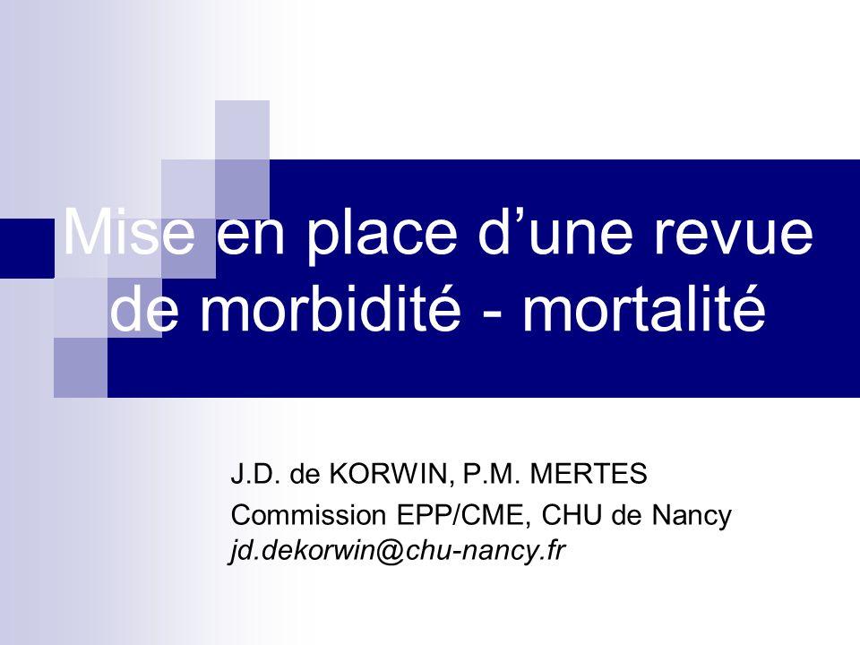 Revue de Mortalité-Morbidité - Pourquoi choisir cette action - Utile / nécessaire pour léquipe Utilisable dans le cadre EPP individuelle / accréditation établissement de santé Fédérative pour «léquipe» et les «partenaires» De Korwin, Mertes, 2007