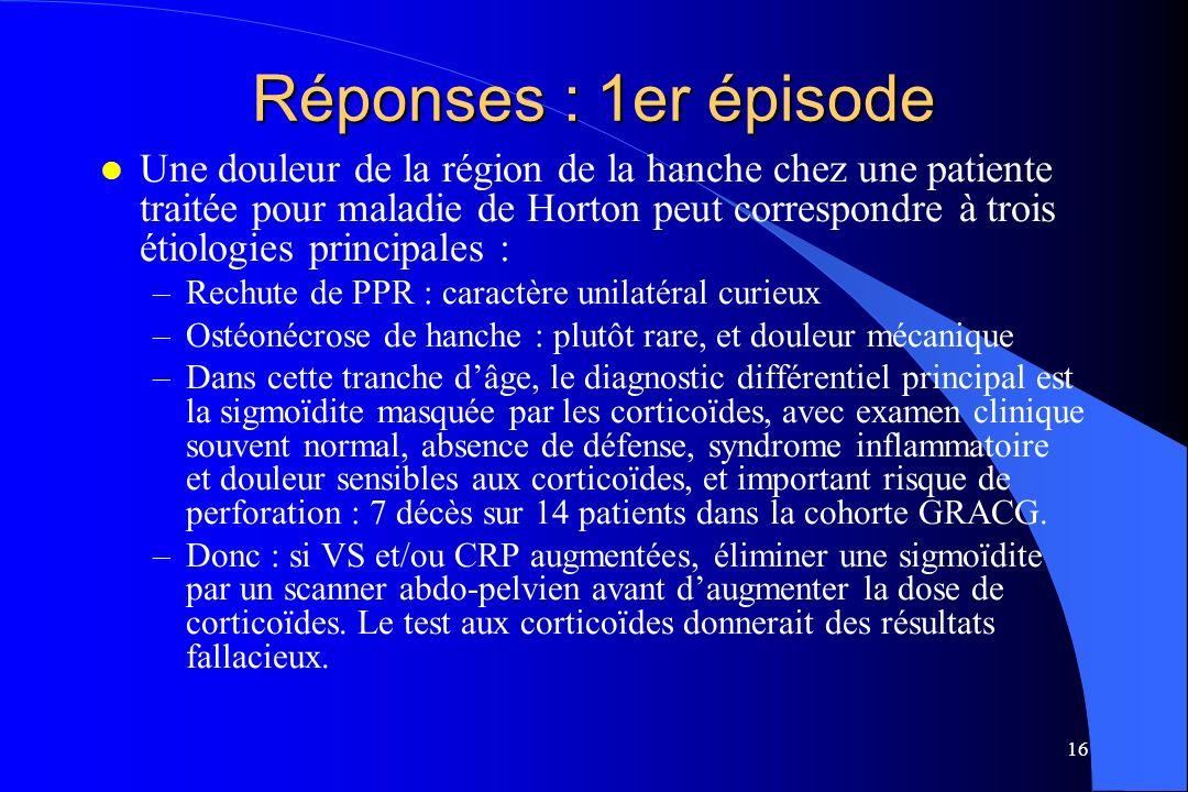 16 Réponses : 1er épisode l Une douleur de la région de la hanche chez une patiente traitée pour maladie de Horton peut correspondre à trois étiologie