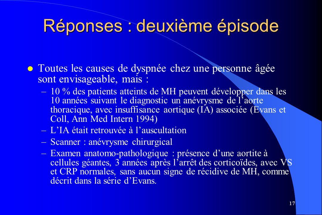 17 Réponses : deuxième épisode l Toutes les causes de dyspnée chez une personne âgée sont envisageable, mais : –10 % des patients atteints de MH peuve