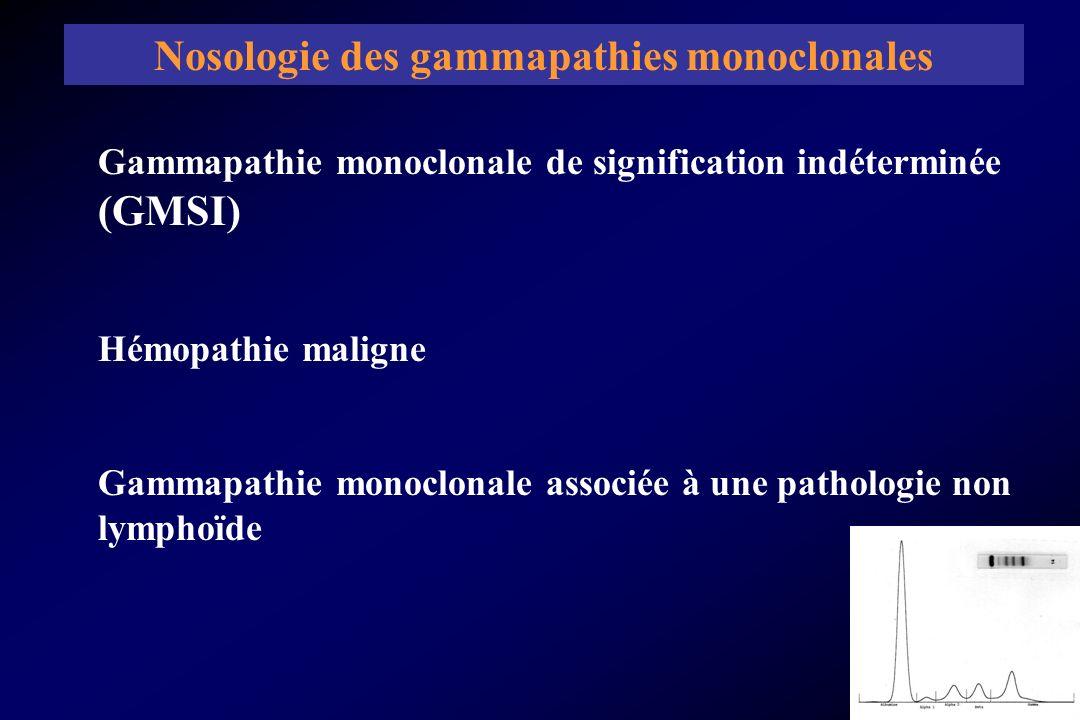 Gammapathie monoclonale de signification indéterminée (GMSI) Hémopathie maligne Gammapathie monoclonale associée à une pathologie non lymphoïde Nosolo