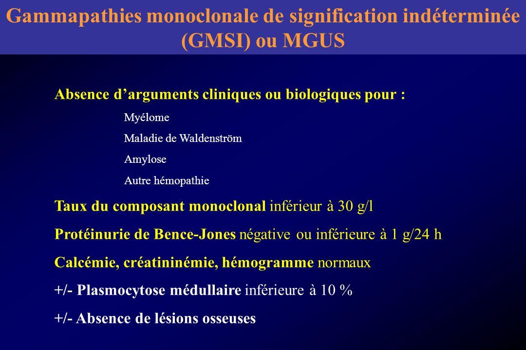 Gammapathies monoclonale de signification indéterminée (GMSI) ou MGUS Absence darguments cliniques ou biologiques pour : Myélome Maladie de Waldenströ