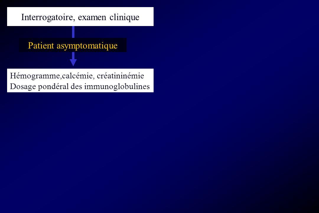 Patient asymptomatique Hémogramme,calcémie, créatininémie Dosage pondéral des immunoglobulines