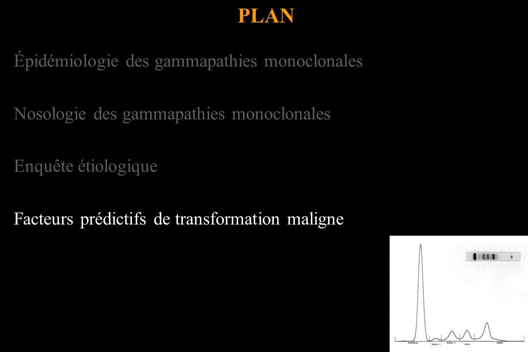 Épidémiologie des gammapathies monoclonales Nosologie des gammapathies monoclonales Enquête étiologique Facteurs prédictifs de transformation maligne