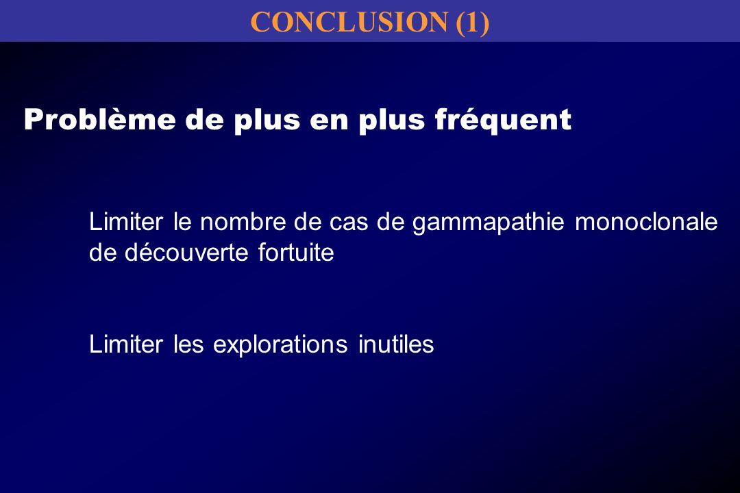 Problème de plus en plus fréquent Limiter le nombre de cas de gammapathie monoclonale de découverte fortuite Limiter les explorations inutiles CONCLUS