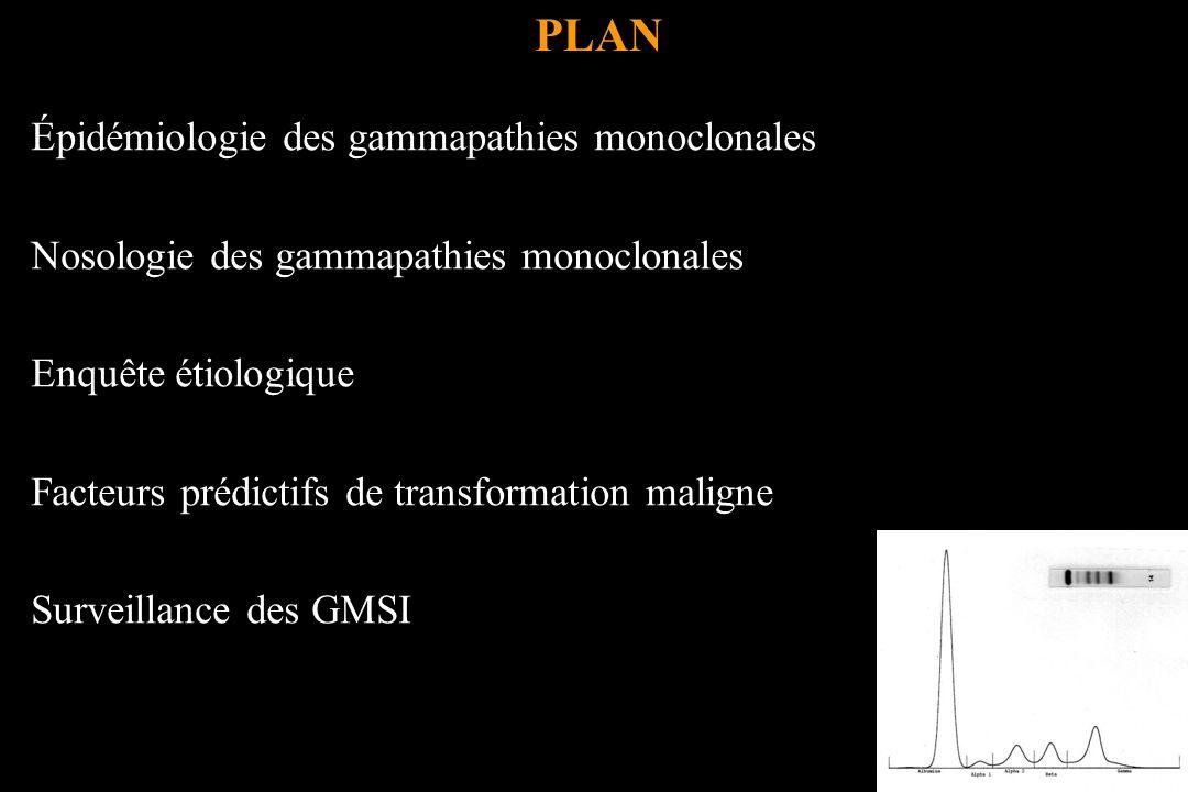 Nosologie des gammapathies monoclonales Kyle RA, Rajkumar SV.