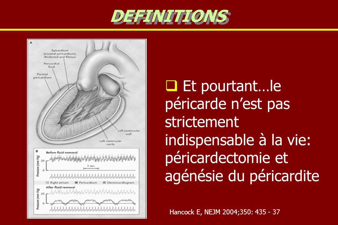Et pourtant…le péricarde nest pas strictement indispensable à la vie: péricardectomie et agénésie du péricardite DEFINITIONS Hancock E, NEJM 2004;350: 435 - 37