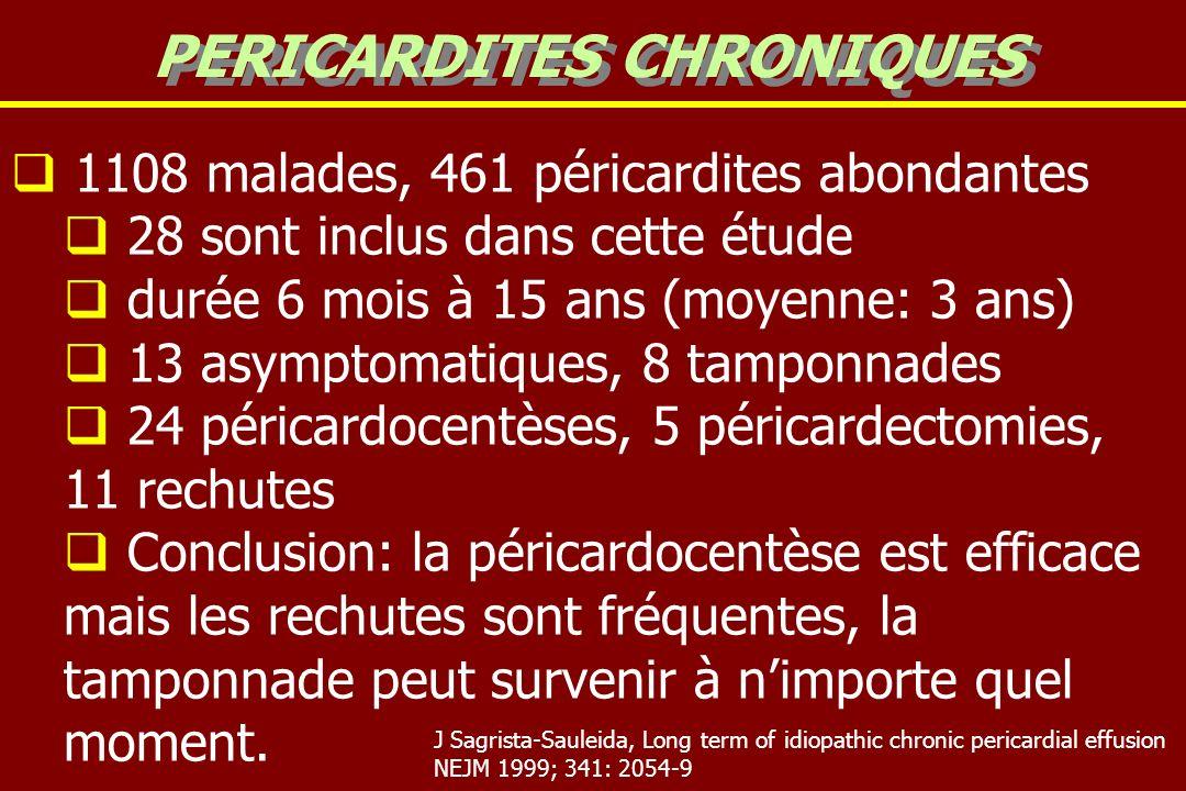 1108 malades, 461 péricardites abondantes 28 sont inclus dans cette étude durée 6 mois à 15 ans (moyenne: 3 ans) 13 asymptomatiques, 8 tamponnades 24 péricardocentèses, 5 péricardectomies, 11 rechutes Conclusion: la péricardocentèse est efficace mais les rechutes sont fréquentes, la tamponnade peut survenir à nimporte quel moment.