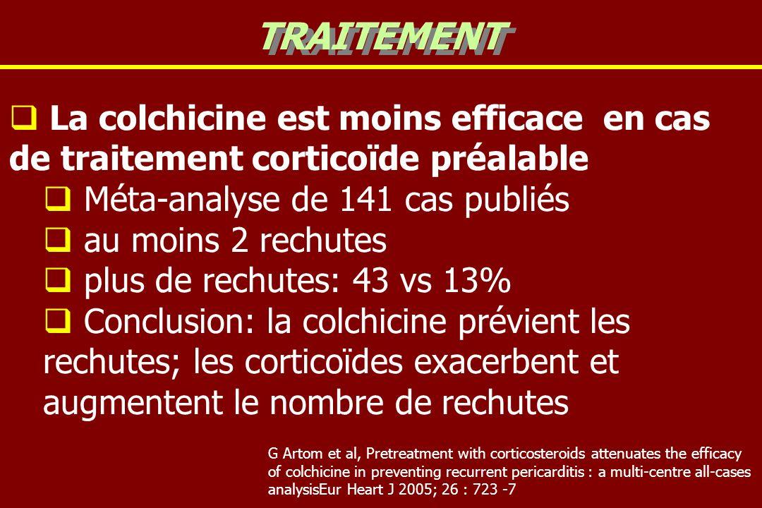 La colchicine est moins efficace en cas de traitement corticoïde préalable Méta-analyse de 141 cas publiés au moins 2 rechutes plus de rechutes: 43 vs 13% Conclusion: la colchicine prévient les rechutes; les corticoïdes exacerbent et augmentent le nombre de rechutes TRAITEMENT G Artom et al, Pretreatment with corticosteroids attenuates the efficacy of colchicine in preventing recurrent pericarditis : a multi-centre all-cases analysisEur Heart J 2005; 26 : 723 -7