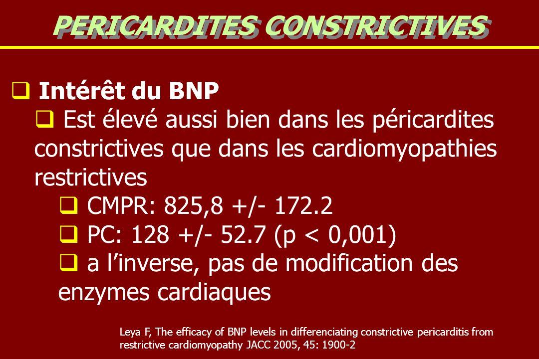 Intérêt du BNP Est élevé aussi bien dans les péricardites constrictives que dans les cardiomyopathies restrictives CMPR: 825,8 +/- 172.2 PC: 128 +/- 52.7 (p < 0,001) a linverse, pas de modification des enzymes cardiaques PERICARDITES CONSTRICTIVES Leya F, The efficacy of BNP levels in differenciating constrictive pericarditis from restrictive cardiomyopathy JACC 2005, 45: 1900-2