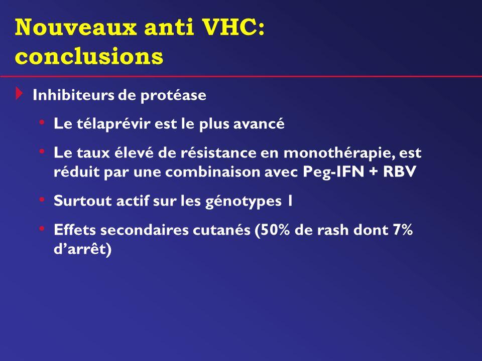 Nouveaux anti VHC: conclusions Inhibiteurs de protéase Le télaprévir est le plus avancé Le taux élevé de résistance en monothérapie, est réduit par un