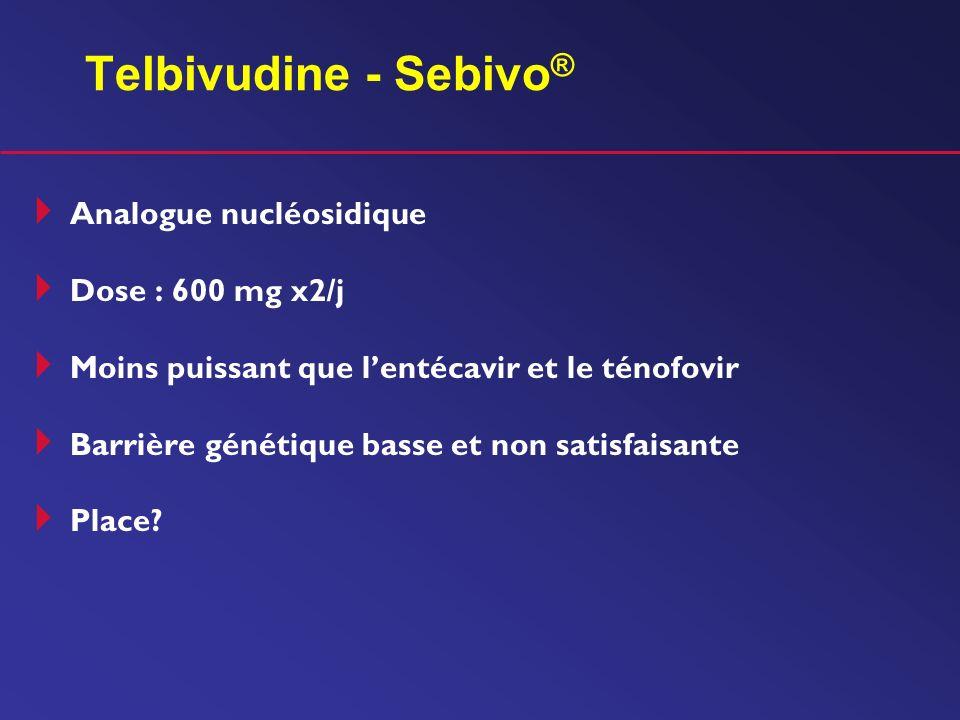 Telbivudine - Sebivo ® Analogue nucléosidique Dose : 600 mg x2/j Moins puissant que lentécavir et le ténofovir Barrière génétique basse et non satisfa