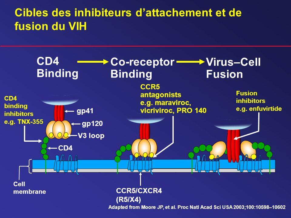 Cibles des inhibiteurs dattachement et de fusion du VIH Co-receptor Binding CCR5/CXCR4 (R5/X4) CCR5 antagonists e.g. maraviroc, vicriviroc, PRO 140 Vi