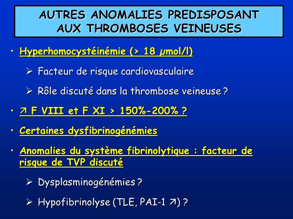 AUTRES ANOMALIES PREDISPOSANT AUX THROMBOSES VEINEUSES Hyperhomocystéinémie (> 18 µmol/l)Hyperhomocystéinémie (> 18 µmol/l) Facteur de risque cardiova