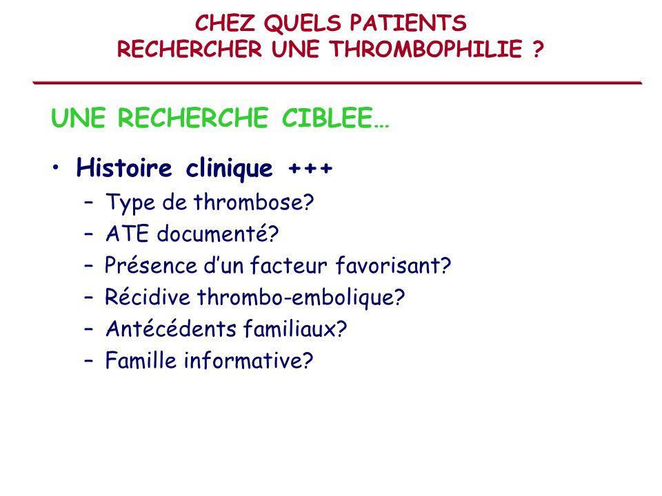 CHEZ QUELS PATIENTS RECHERCHER UNE THROMBOPHILIE ? Histoire clinique +++ –Type de thrombose? –ATE documenté? –Présence dun facteur favorisant? –Récidi