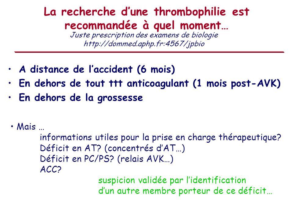 La recherche dune thrombophilie est recommandée à quel moment… A distance de laccident (6 mois) En dehors de tout ttt anticoagulant (1 mois post-AVK)