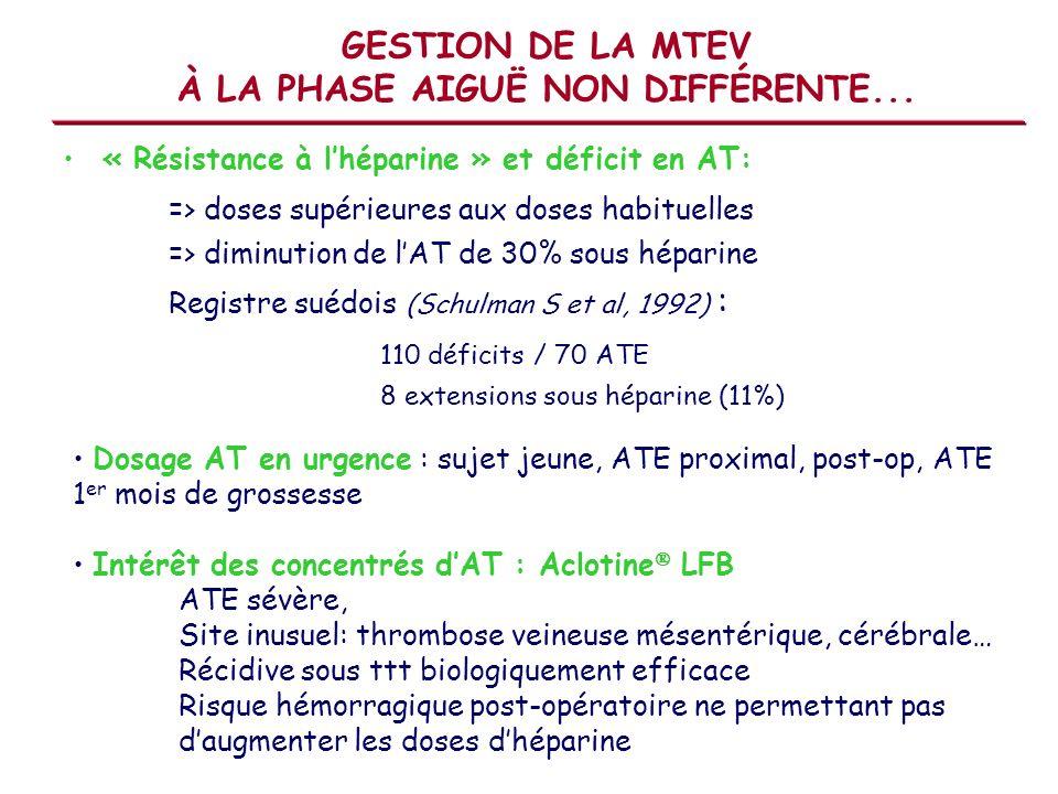 GESTION DE LA MTEV À LA PHASE AIGUË NON DIFFÉRENTE... « Résistance à lhéparine » et déficit en AT: => doses supérieures aux doses habituelles => dimin