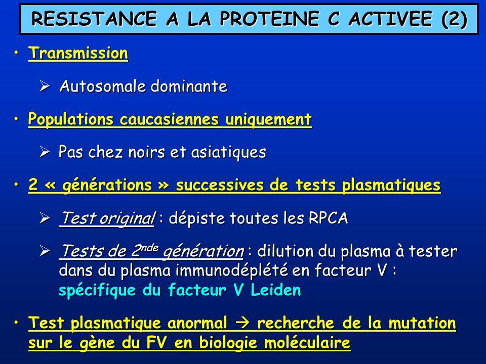 THROMBOPHILIE FAMILIALE = présence dau moins 1 anomalie biologique (AT, PC, PS, RPCA, MFII) + coségrégation de lanomalie avec la MTEV chez au moins 2 sujets apparentés au propositus Notion de MTEV familiale (Jordan & Nandorff 1956) Notion de « thrombophilie » (Egeberg 1965) description dune famille déficitaire en AT et atteinte de MTEV