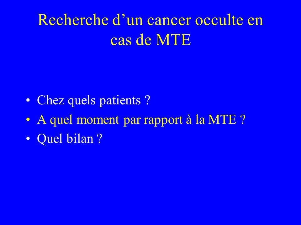 Recherche dun cancer occulte en cas de MTE Chez quels patients ? A quel moment par rapport à la MTE ? Quel bilan ?