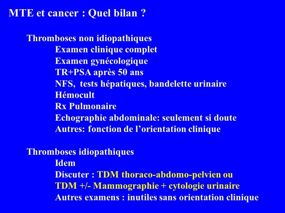 MTE et cancer : Quel bilan ? Thromboses non idiopathiques Examen clinique complet Examen gynécologique TR+PSA après 50 ans NFS, tests hépatiques, band