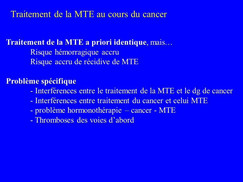 Traitement de la MTE au cours du cancer Traitement de la MTE a priori identique, mais… Risque hémorragique accru Risque accru de récidive de MTE Probl