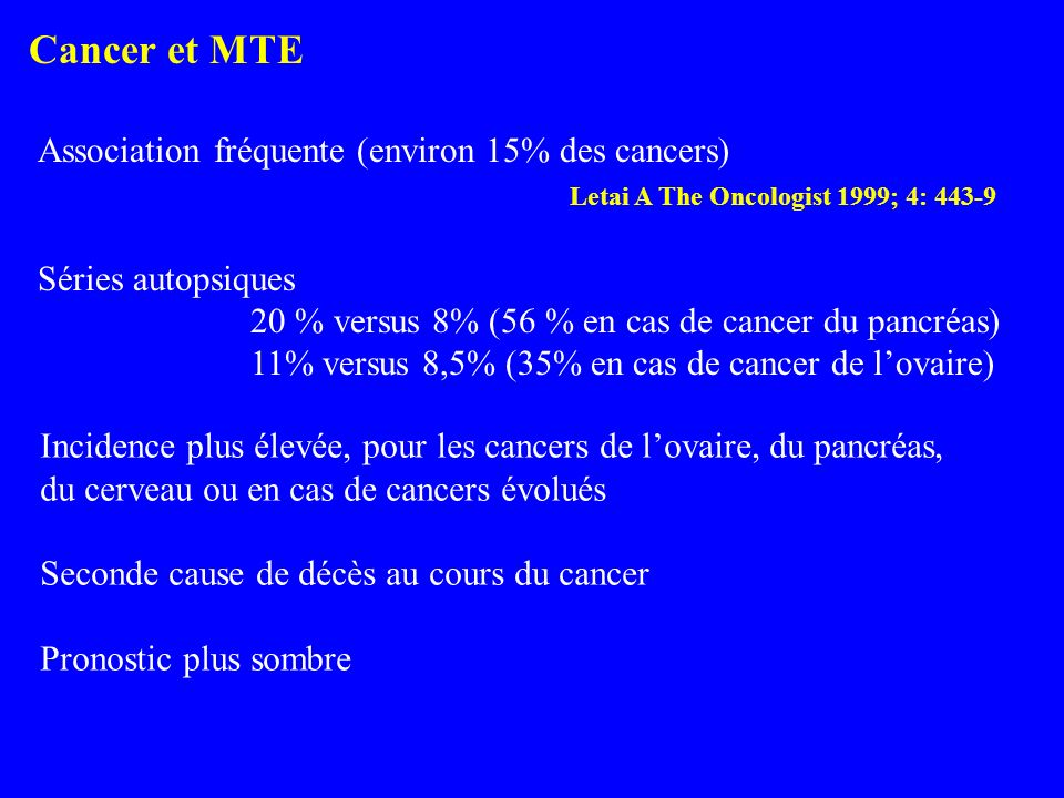 MTE et cancer : HBPM > AVK Lee AYY.
