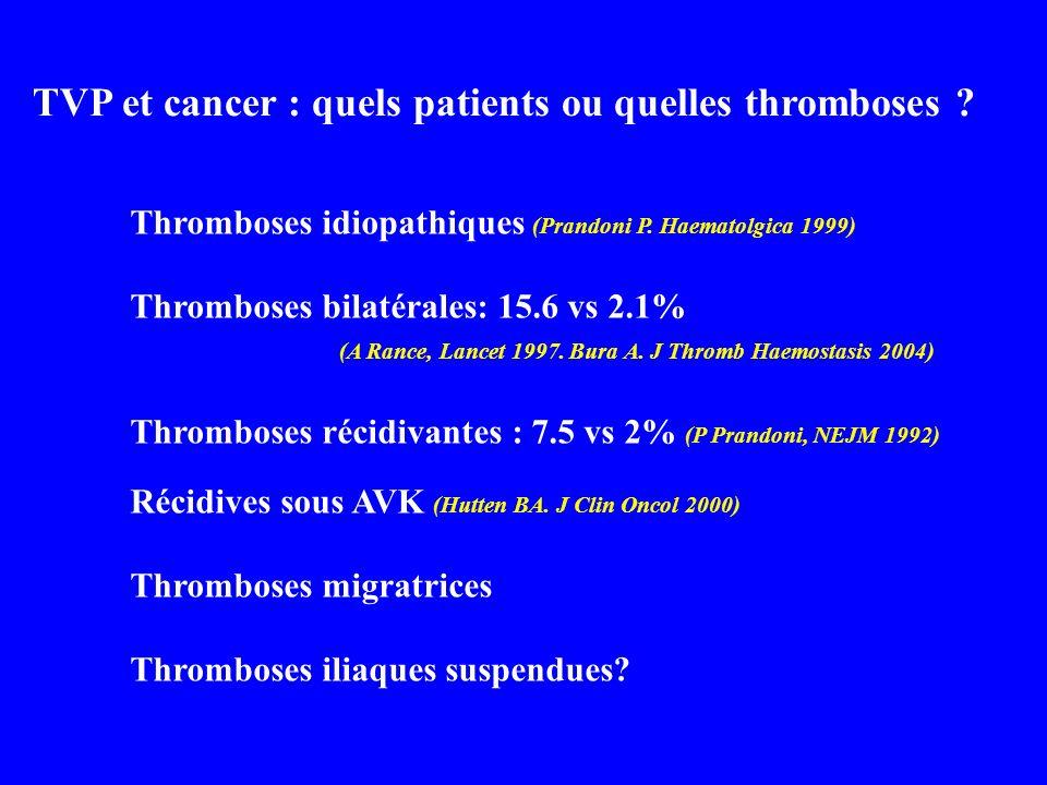 TVP et cancer : quels patients ou quelles thromboses ? Thromboses idiopathiques (Prandoni P. Haematolgica 1999) Thromboses bilatérales: 15.6 vs 2.1% (