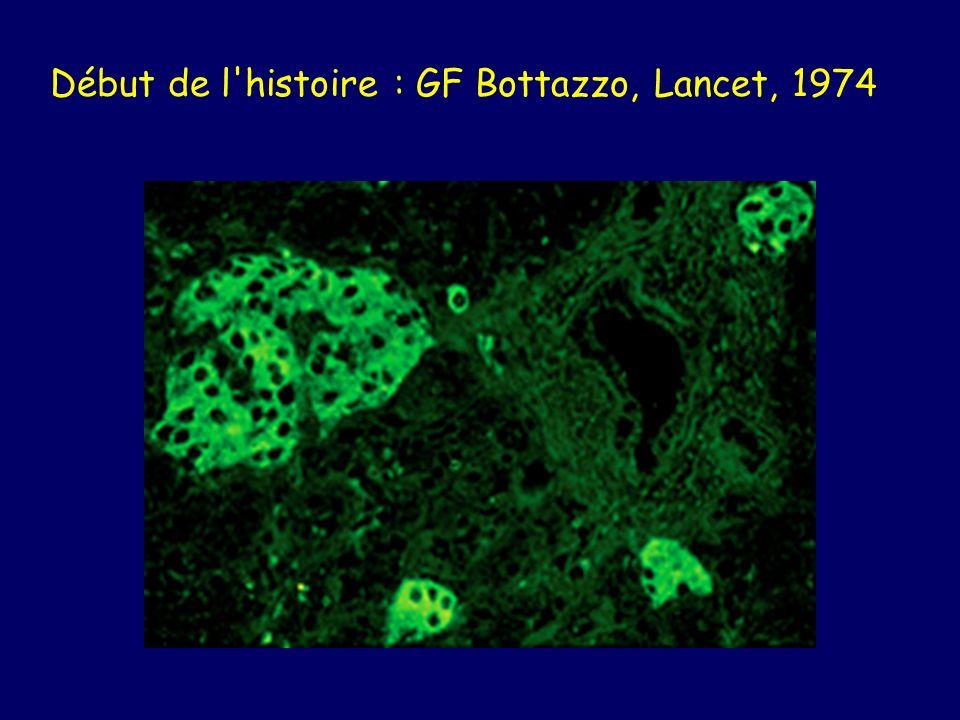 Début de l'histoire : GF Bottazzo, Lancet, 1974