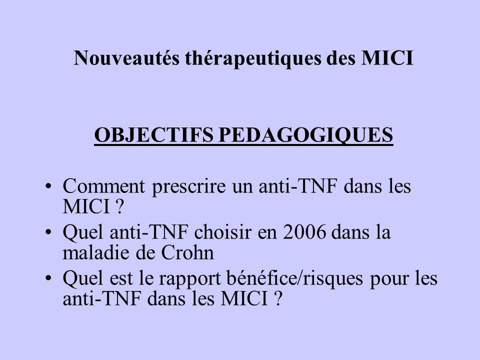 Nouveautés thérapeutiques des MICI OBJECTIFS PEDAGOGIQUES Comment prescrire un anti-TNF dans les MICI .