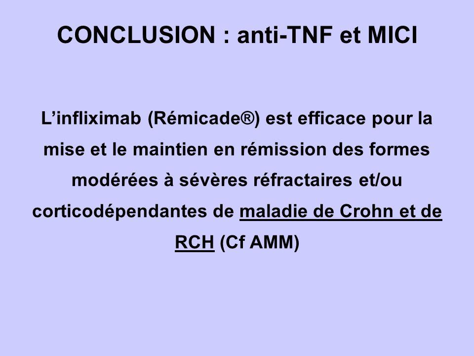 Linfliximab (Rémicade®) est efficace pour la mise et le maintien en rémission des formes modérées à sévères réfractaires et/ou corticodépendantes de maladie de Crohn et de RCH (Cf AMM) CONCLUSION : anti-TNF et MICI